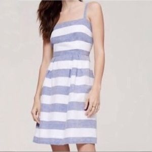 Ann Taylor LOFT Linen Striped fit & flare dress